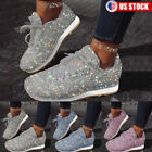 Women Sequin Glitter Sneakers Tennis Lightweight Lace Up Walking Athletic Shoes
