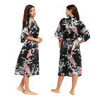 Women Floral Silk Satin Kimono Robe Night Dressing Gown Bathrobe Loose Sleepwear