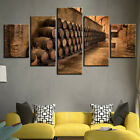 Home Decor Wine Barrels Wine Cellar Canvas Prints Painting Wall Art Poster 5PCS photo