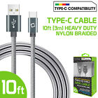 10ft Heavy Duty Nylon Braided Type-C Cable for iPad Pro 3rd Gen Galaxy Note 20+