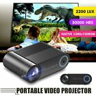 "1280*720P 200"" LED Smart Home Theater Projector Multimedia Video Game HDMI USB"