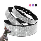 Bling Rhinestone Dog Collar Soft Suede Leather Collar for Small Medium Large Dog