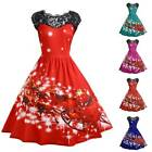 Women's Christmas Swing Dress Xmas Lace Short Sleeve Midi A-Line Skater Dress