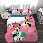 Pink Mickey Mouse 3D Quilt Duvet Doona Cover Set Single Double Queen King Print image