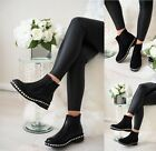 WOMENS LADIES FLAT BLOCK CHUNKY HEEL ANKLE DIAMANTE STUDS CHELSEA SHOES BOOTS SZ