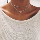 Necklace Double Layer Heart Silver Plated Jewellery Women Choker Pendant Gold UK