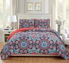 Mk Home 3Pc King/California King Oversized Quilted Bedspread Coverlet Set Floral image