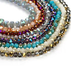 Plated Crystal Glass Rondelle Faceted Loose Spacer Beads 2mm 4mm 6mm 8mm Lot