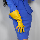 LONG GLOVES Unisex Ginger Yellow Faux Leather 38cm Wide Balloon Puff Sleeves L