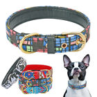 Printed Dog Collar Leather Padded Small Medium Large Dogs Collar for Labrador