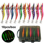 10Pcs Luminous Squid Jigs Saltwater Lures Squid Bait Jig Hooks with A Tackle Box