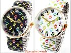 Paw Print Watch Stainless Steel Stretch White Black Large Face Adorable   image