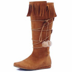 Kyпить Tan Faux Suede Womens Indian Boots Tribal Western Costume Fringe Poms Shoes на еВаy.соm