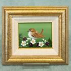Mary Shaw framed original miniature painting - Wren and blackberries