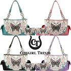 Butterfly Western Style Handbag Concealed Carry Purse Women Shoulder Bag Wallet image