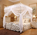 Romantic White 4 Corners Post Bed Canopy Curtain Netting Mosquito Net Or Frame image