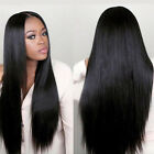 Women Black Long Straight Front Rose Net Human Hair Wig Natural Hairpiece