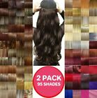 2 PACKS Hair Extensions Half Head 1 Piece Curly Straight feels real Brown Red