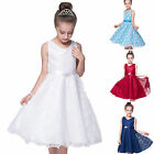 Kids Flower Girls Party Lace Long Dress Wedding Bridesmaid Prom Formal Dresses