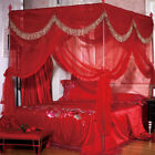 4 Corner Post Bed Curtain Canopy Mosquito Netting or Frame Post Queen King Size image