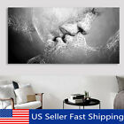 Black & White Love Kiss Abstract Art on Canvas Painting Wall Art Picture