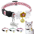 Nylon Cat Collars Personalised Quick Release Safety Cat Collar With ID Tags Pink