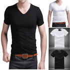 Men Slim Fit V Neck Short Sleeve Sports Muscle Tee T-shirt Casual Summer Tops image