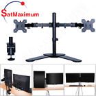 Dual Monitor Stand Adjustable Tilt Screen Desk Mount free Standing Two Screen