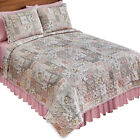 Floral Patchwork Style Quilt with Pom Poms