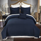 Luxury Checkered Quilted Wrinkle Free Navy 6 PC Microfiber Coverlet Sets image