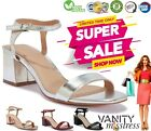 Womens Ladies Low Block Heel Sandals Ankle Strap Office Work Smart Shoes Size