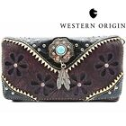 Tooled Leather Concealed Carry Purse Western Handbag Feather Shoulder Bag Wallet