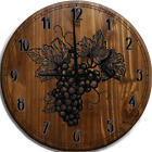 Large Wall Clock Wine Grapes Leaves Fruit Bar Sign