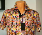 BUGATCHI MULTI Digital Print 3 Button Knit Polo Shirt Cotton Short Sleeve New