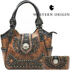 Western Handbag Floral Concho Brown Concealed Carry Purse Shoulder Bag Wallet image