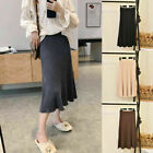 Winter Retro Lady Warm Knit Stretch Elastic High Waist Casual Long Striped Skirt