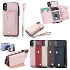 Women's Luxury Leather Credit Card Slot Hand Strap Stand Holder Back Case Cover