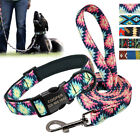 Personalized Nylon Dog Collar and Leash Nylon Custom Pet Kitten ID Engraved Free