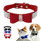 Bling Rhinestone Pet Cat Collars Cute Bowtie Suede Leather for Small Medium Dogs