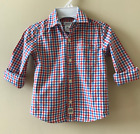 Carters 3T Checkered Poplin Button-Front Shirt Toddler Boy Red White Blue