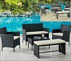 5 Piece Rattan Garden Lounge Set Black Or Grey Outdoor Patio With Bench & Table