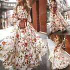Women Summer Boho Print Long Maxi Dress Evening Cocktail Party Beach Sundress