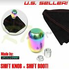 FIT CHRYSLER DODGE! M8 NEO STAINLESS STEEL GEAR STICK SHIFT KNOB+RED STITCH BOOT $17.99 USD on eBay