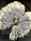 "Light gray  gray XL 2 layers Ostrich Feather Fan 34"" x 60"" leather Travel Bag"