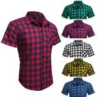 Tops COOFANDY Shirts Men T-shirts Plaid Slim Fit Short Sleeve Turndown VILR 01