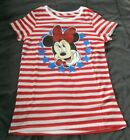 NWT Girls L 10/12 Minnie Mouse Short Sleeve Shirt Disney PATRIOTIC Red White