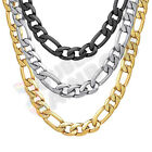 """Men Stainless Steel Diamond Cut Figaro Necklace 6/8mm Chain 18-36"""" Link*C23 image"""