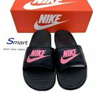 NIB SIZES 5-12 WOMEN Nike Benassi JDI Logo Slides BLACK VIVID PINK Sandals NEW $34.99 USD on eBay