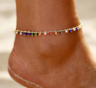 BOHO FESTIVAL BEACH COLOURFUL BEADED BEADS GOLD ANKLET ANKLE CHAIN UK SELLER