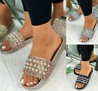 LADIES WOMENS FLAT SLIP ON MULE SLIDES HOILDAY BEACH SUMMER PEARLS SANDALS SHOES
